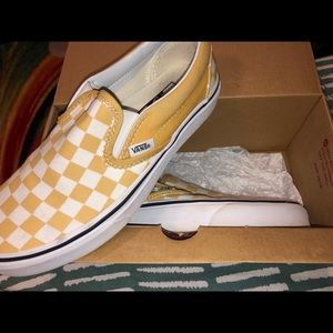 Yellow Checkered Vans - brand new in box